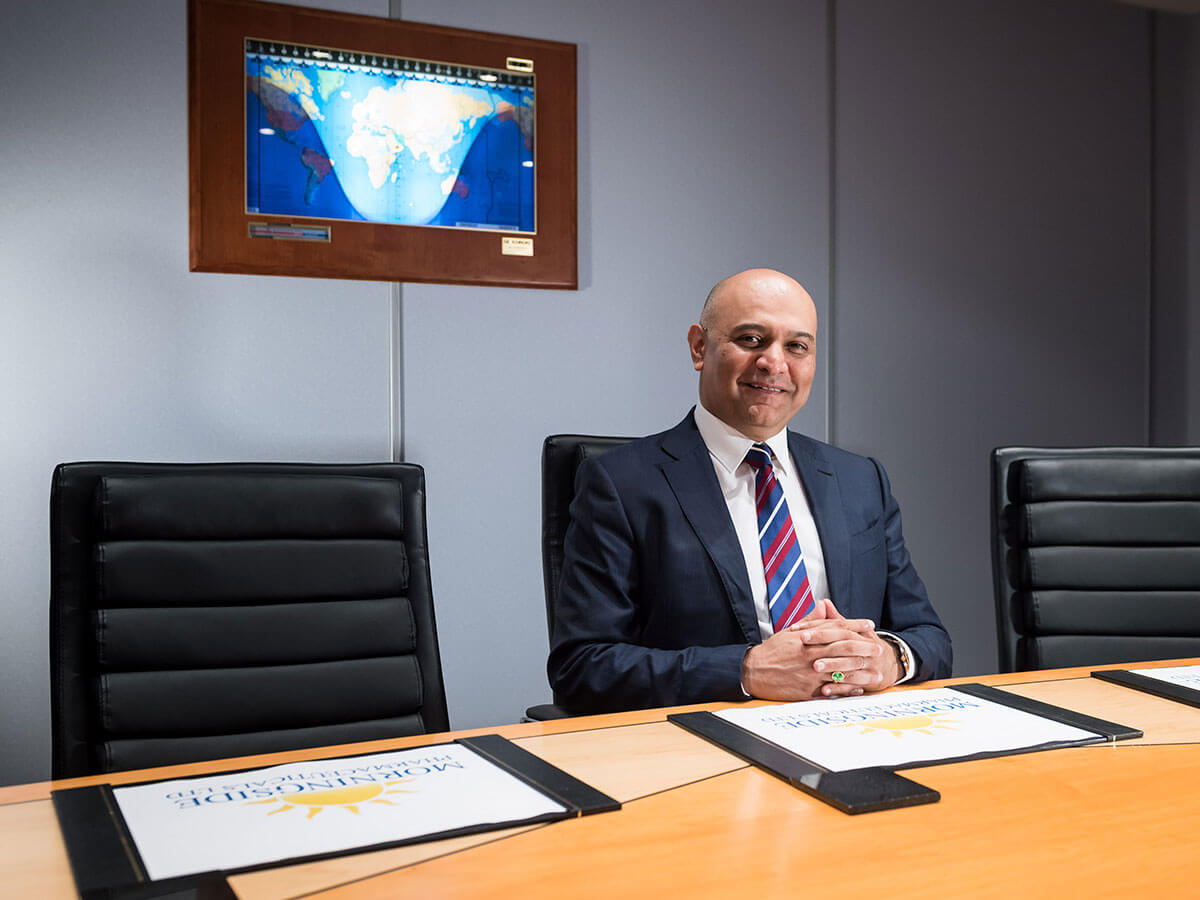Dr Nik Kotecha OBE, Chief Executive of Morningside Pharmaceuticals, in the board room.