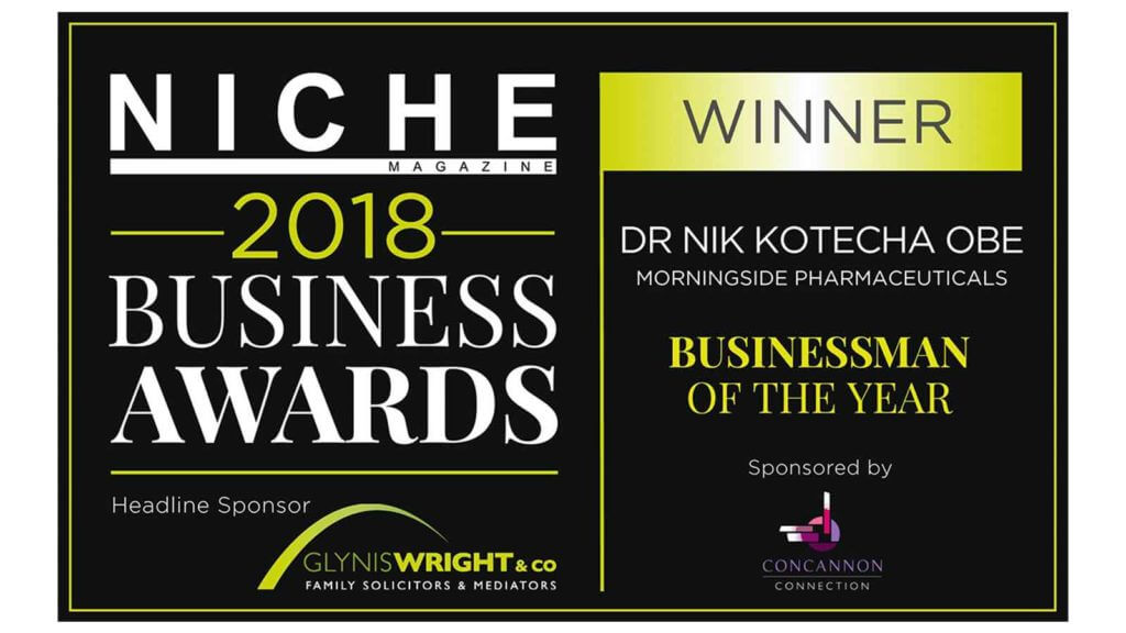 Dr Nik Kotecha OBE, Chief Executive of Morningside Pharmaceuticals, winning a Niche Business Award.