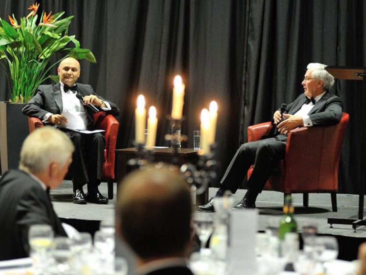 Dr Nik Kotecha OBE and Melvyn King, the former Governor of the Bank of England