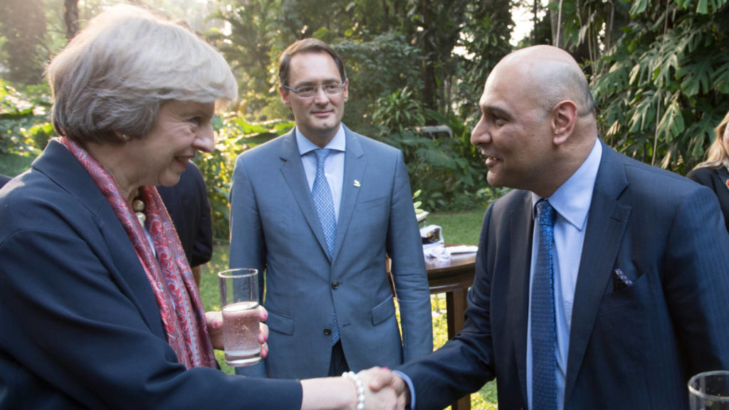 Dr Nik Kotecha OBE, Chief Executive of Morningside Pharmaceuticals, with UK Prime Minister Theresa May.