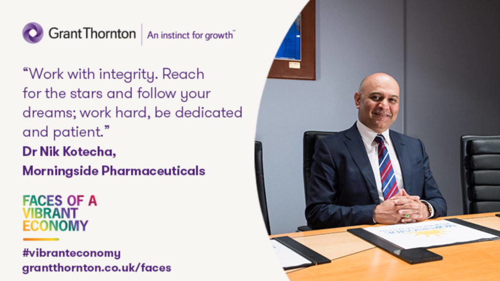 Dr Nik Kotecha OBE been named as one of Grant Thornton's Faces of a Vibrant Economy.