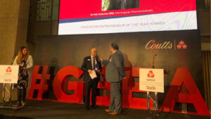 Dr Nik Kotecha OBE wins the Innovation Entrepreneur of the Year Award at the Nat West Great British Entrepreneur Awards