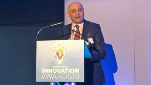 Dr Nik Kotecha OBE, Chief Executive of Morningside Pharmaceuticals, delivering a speech at the LeicestershireLive Innovation Awards 2019